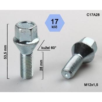 Šroub M12x1,5x28 kužel kl.17